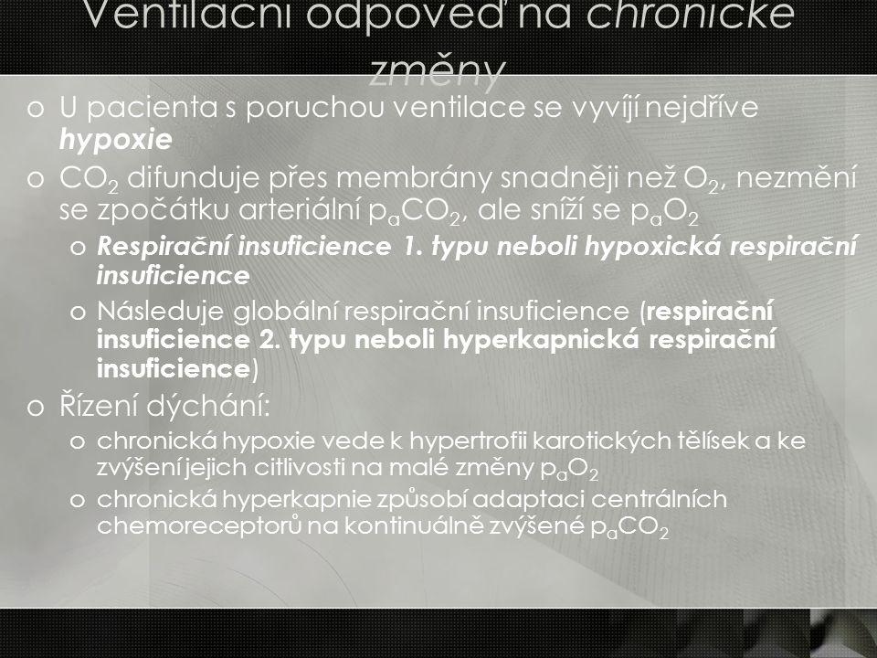 Ventilační odpověď na chronické změny oU pacienta s poruchou ventilace se vyvíjí nejdříve hypoxie oCO 2 difunduje přes membrány snadněji než O 2, nezm