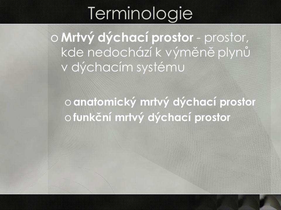 Terminologie o Mrtvý dýchací prostor - prostor, kde nedochází k výměně plynů v dýchacím systému o anatomický mrtvý dýchací prostor o funkční mrtvý dýc