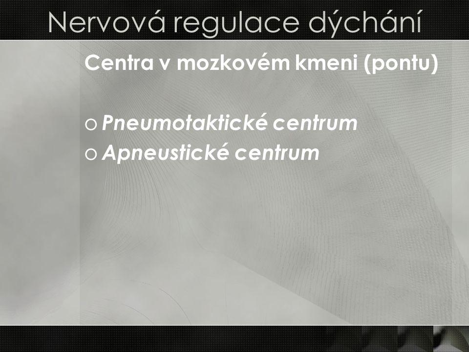 Poruchy regulace dýchání o Cheyne – Stokesovo dýchání = periodické, typické postupným klesáním hloubky nádechu až k zástavě dechu (apnoi) a pak postupným prohlubováním dechu oZměna hloubky dýchání je dána sníženou citlivostí respiračních center k pCO2 oPříčina: hypoxie nebo ischemie prodložené míchy z různých příčin (například selhávání srdce) o Kussmaulovo (acidotické) dýchání = důsledek metabolické acidózy organismu oZpůsobeno aktivací periferních chemoreceptorů vodíkovým iontem