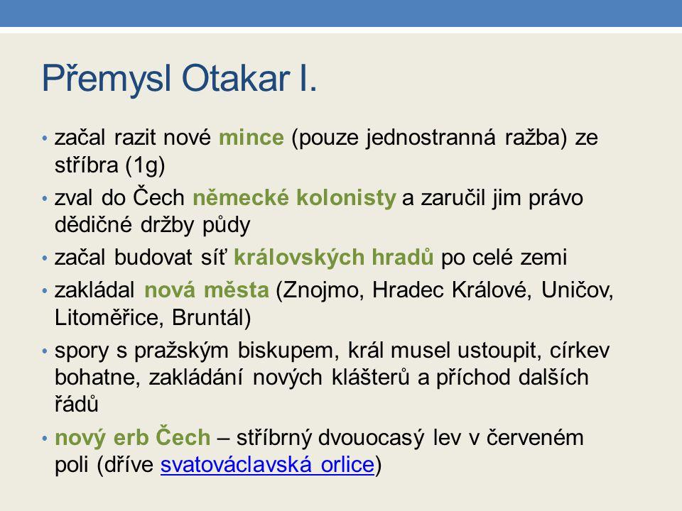 Zápis do sešitu Poslední Přemyslovci Přemysl Otakar I.