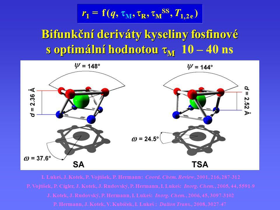 H 5 do3aP PrA H 4 do3aP ABn vhodné pro konjugaci MRI kontrastních látek na makromolekulu Bifunkční deriváty kyseliny fosfinové s optimální hodnotou  M Bifunkční deriváty kyseliny fosfinové s optimální hodnotou  M 10 – 40 ns J.