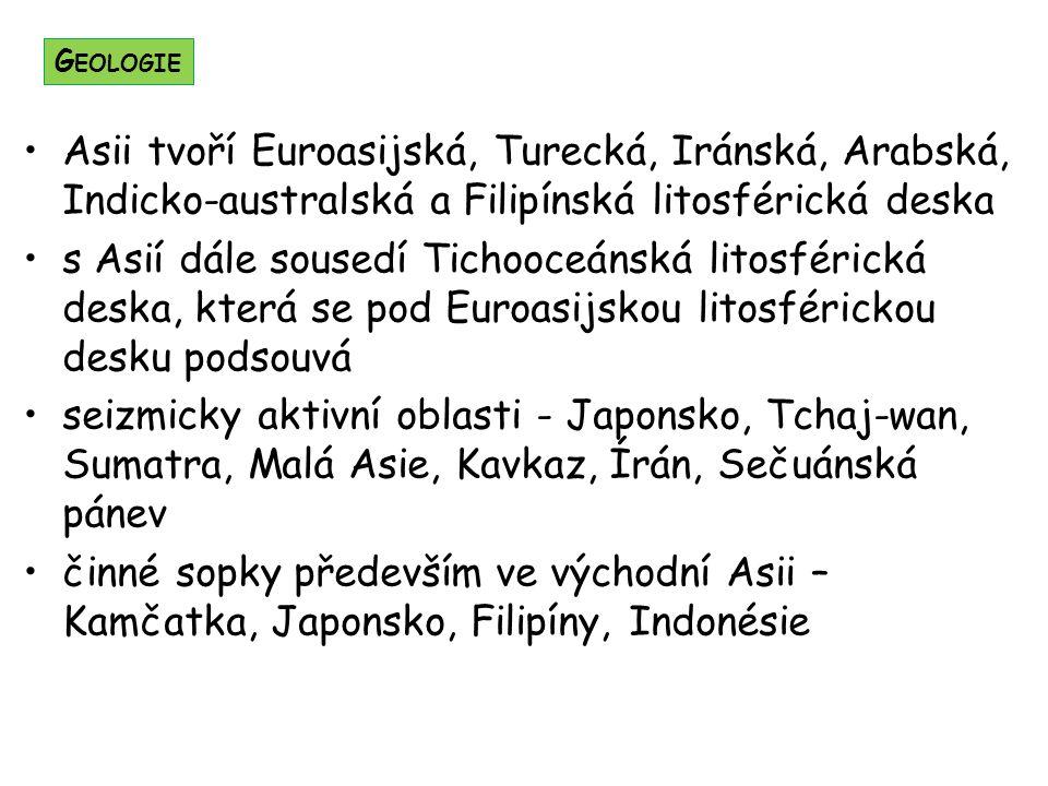 Asii tvoří Euroasijská, Turecká, Iránská, Arabská, Indicko-australská a Filipínská litosférická deska s Asií dále sousedí Tichooceánská litosférická deska, která se pod Euroasijskou litosférickou desku podsouvá seizmicky aktivní oblasti - Japonsko, Tchaj-wan, Sumatra, Malá Asie, Kavkaz, Írán, Sečuánská pánev činné sopky především ve východní Asii – Kamčatka, Japonsko, Filipíny, Indonésie G EOLOGIE