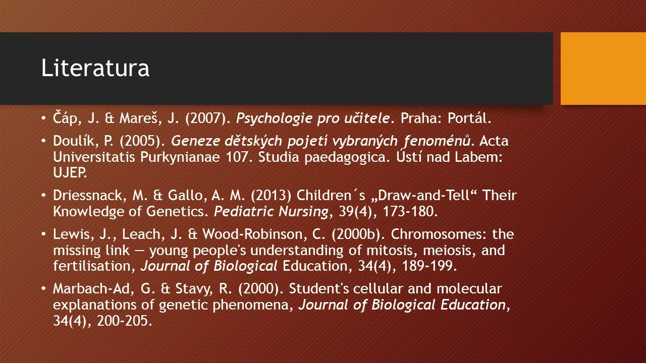 Literatura Čáp, J. & Mareš, J. (2007). Psychologie pro učitele.