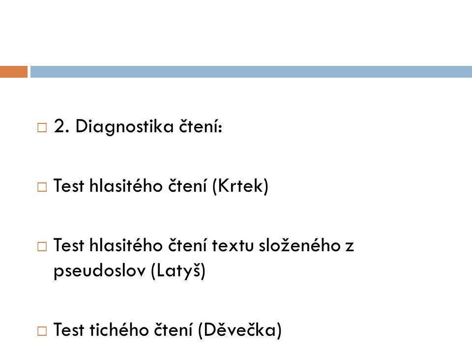  2. Diagnostika čtení:  Test hlasitého čtení (Krtek)  Test hlasitého čtení textu složeného z pseudoslov (Latyš)  Test tichého čtení (Děvečka)