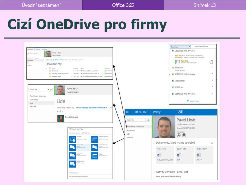 Cizí OneDrive pro firmy Office 365Snímek 13Úvodní seznámení