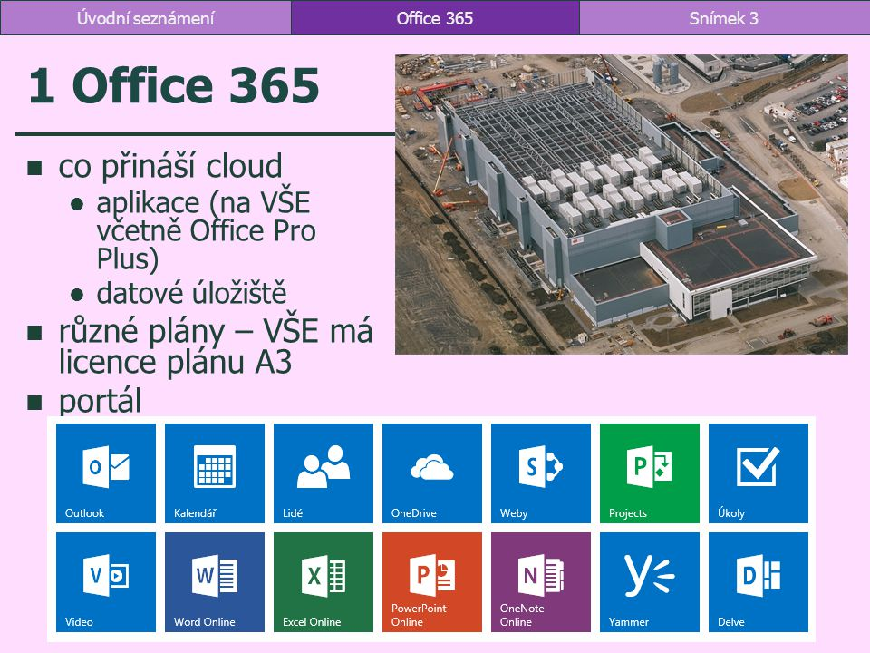 1 Office 365 co přináší cloud aplikace (na VŠE včetně Office Pro Plus) datové úložiště různé plány – VŠE má licence plánu A3 portál Office 365Snímek 3