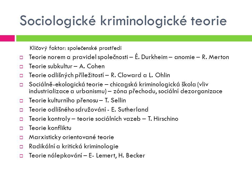 Sociologické kriminologické teorie Klíčový faktor: společenské prostředí  Teorie norem a pravidel společnosti – É. Durkheim – anomie – R. Merton  Te
