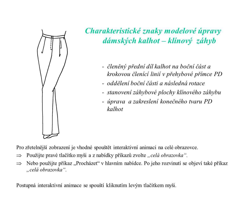 Charakteristické znaky modelové úpravy dámských kalhot – klínový záhyb - členěný přední díl kalhot na boční část a krokovou členící linií v přehybové