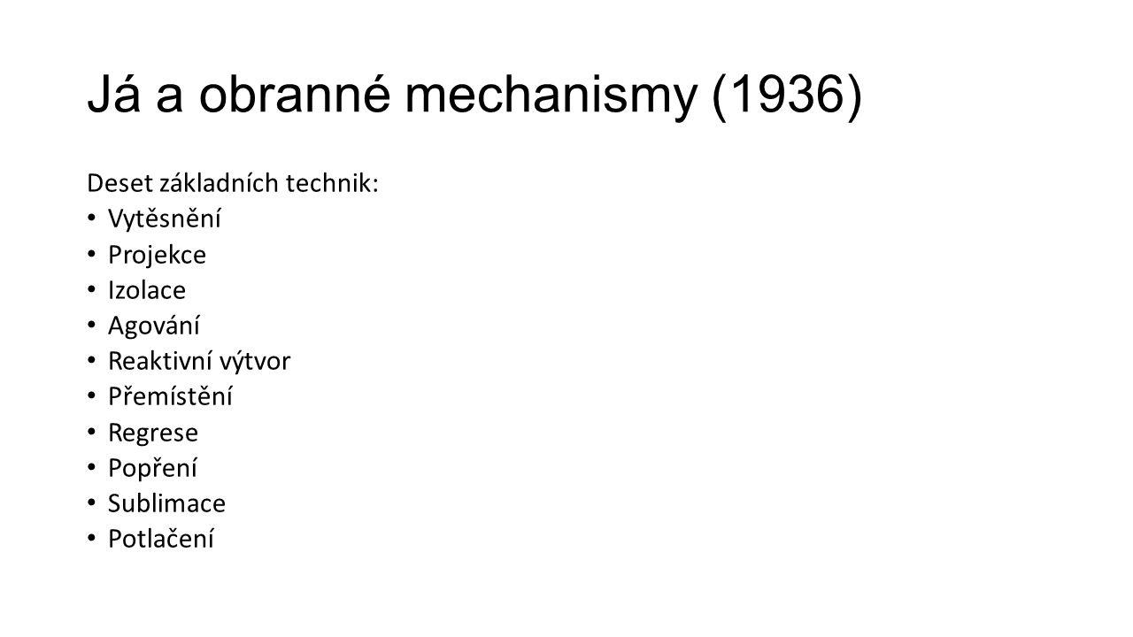 Já a obranné mechanismy (1936) Deset základních technik: Vytěsnění Projekce Izolace Agování Reaktivní výtvor Přemístění Regrese Popření Sublimace Potl