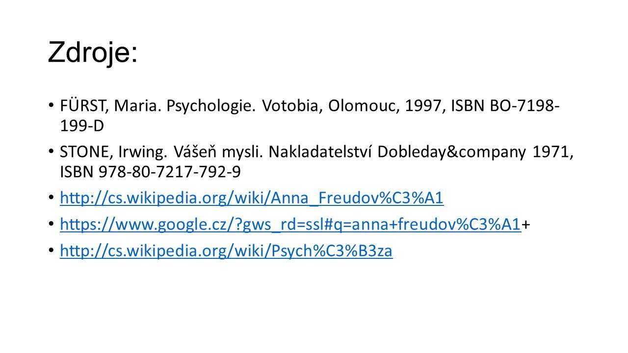 Zdroje: FÜRST, Maria. Psychologie. Votobia, Olomouc, 1997, ISBN BO-7198- 199-D STONE, Irwing. Vášeň mysli. Nakladatelství Dobleday&company 1971, ISBN