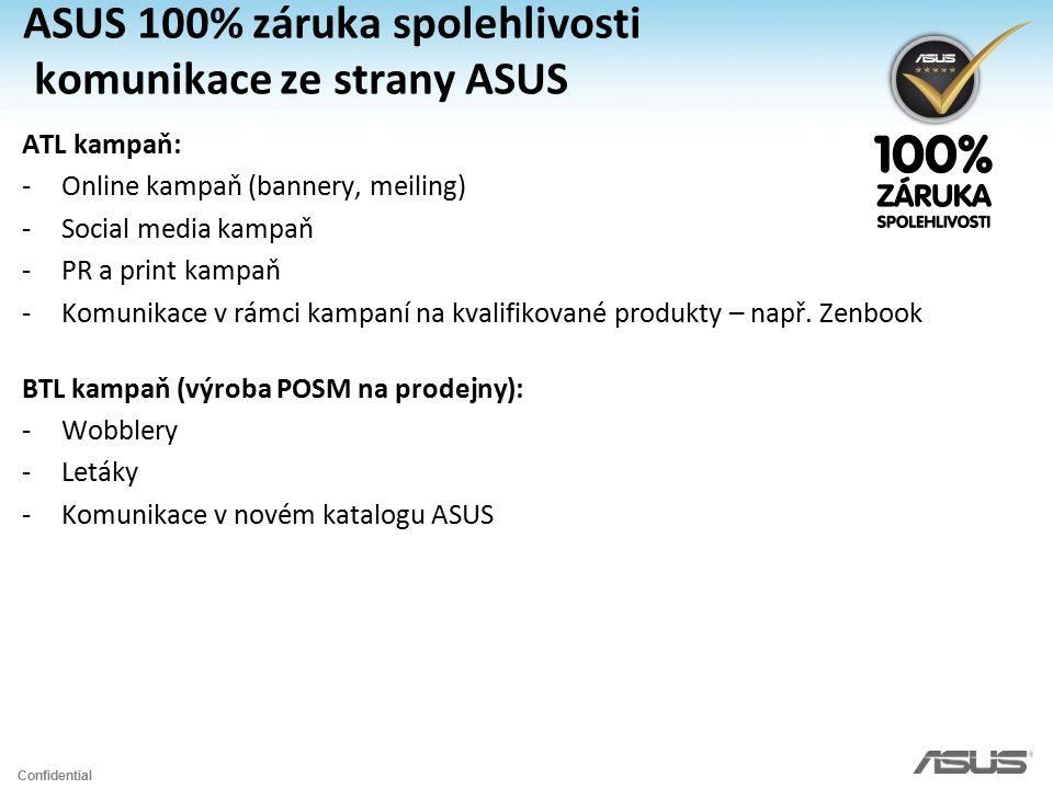 Confidential ASUS 100% záruka spolehlivosti komunikace ze strany ASUS ATL kampaň: -Online kampaň (bannery, meiling) -Social media kampaň -PR a print k