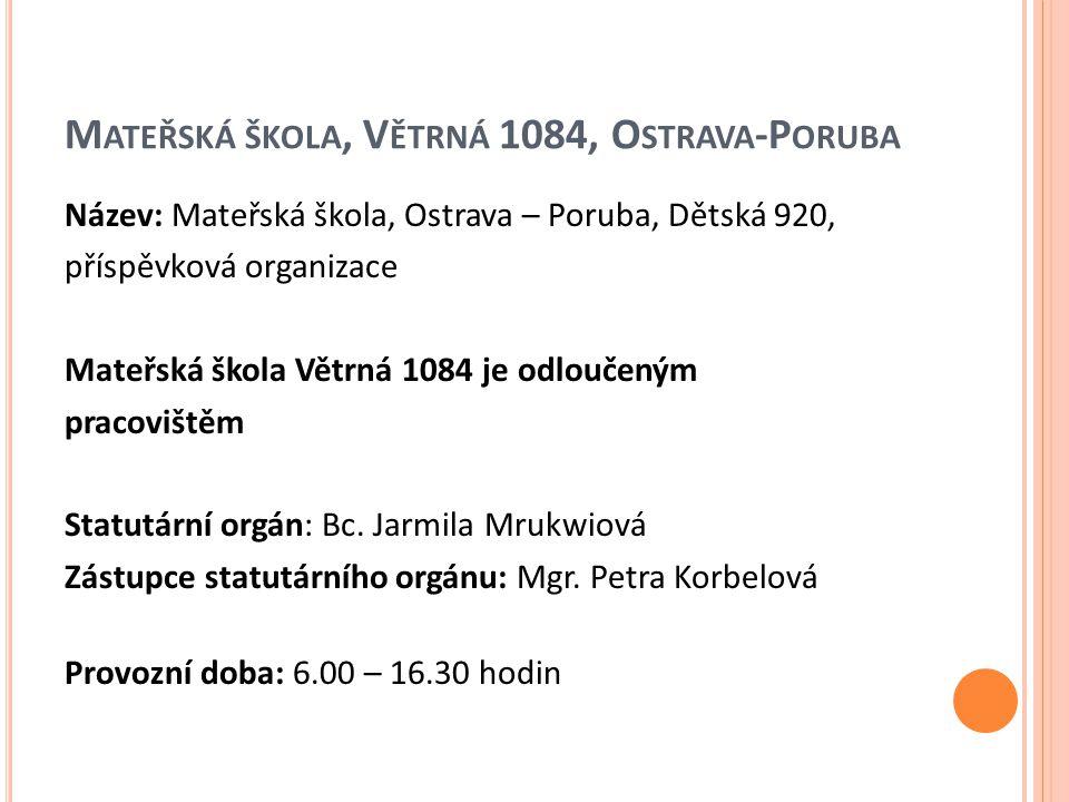 K ONTAKTY Telefon MŠ Dětská - 558 275 035 MŠ Větrná - 558 275 036 E-mail ms.detska@seznam.cz ms.vetrna@seznam.cz www stránky www.ms-detska.cz www.msve.cz