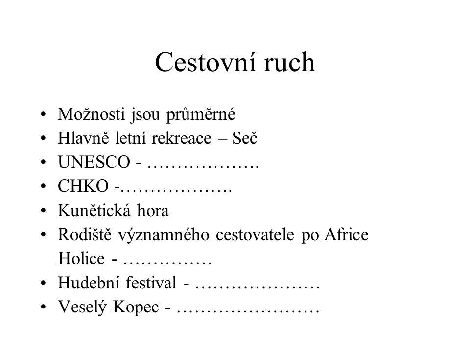 Cestovní ruch Možnosti jsou průměrné Hlavně letní rekreace – Seč UNESCO - ………………. CHKO -………………. Kunětická hora Rodiště významného cestovatele po Afric