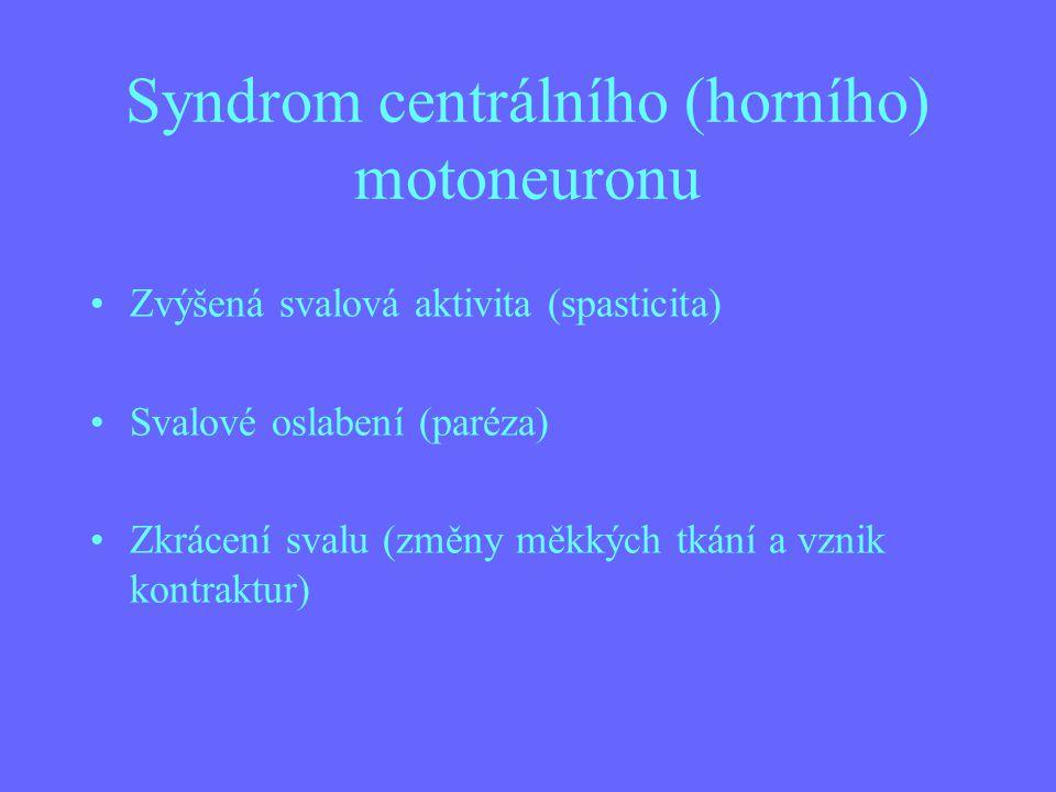 Syndrom centrálního (horního) motoneuronu Zvýšená svalová aktivita (spasticita) Svalové oslabení (paréza) Zkrácení svalu (změny měkkých tkání a vznik