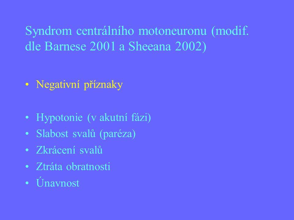 Syndrom centrálního motoneuronu (modif. dle Barnese 2001 a Sheeana 2002) Negativní příznaky Hypotonie (v akutní fázi) Slabost svalů (paréza) Zkrácení