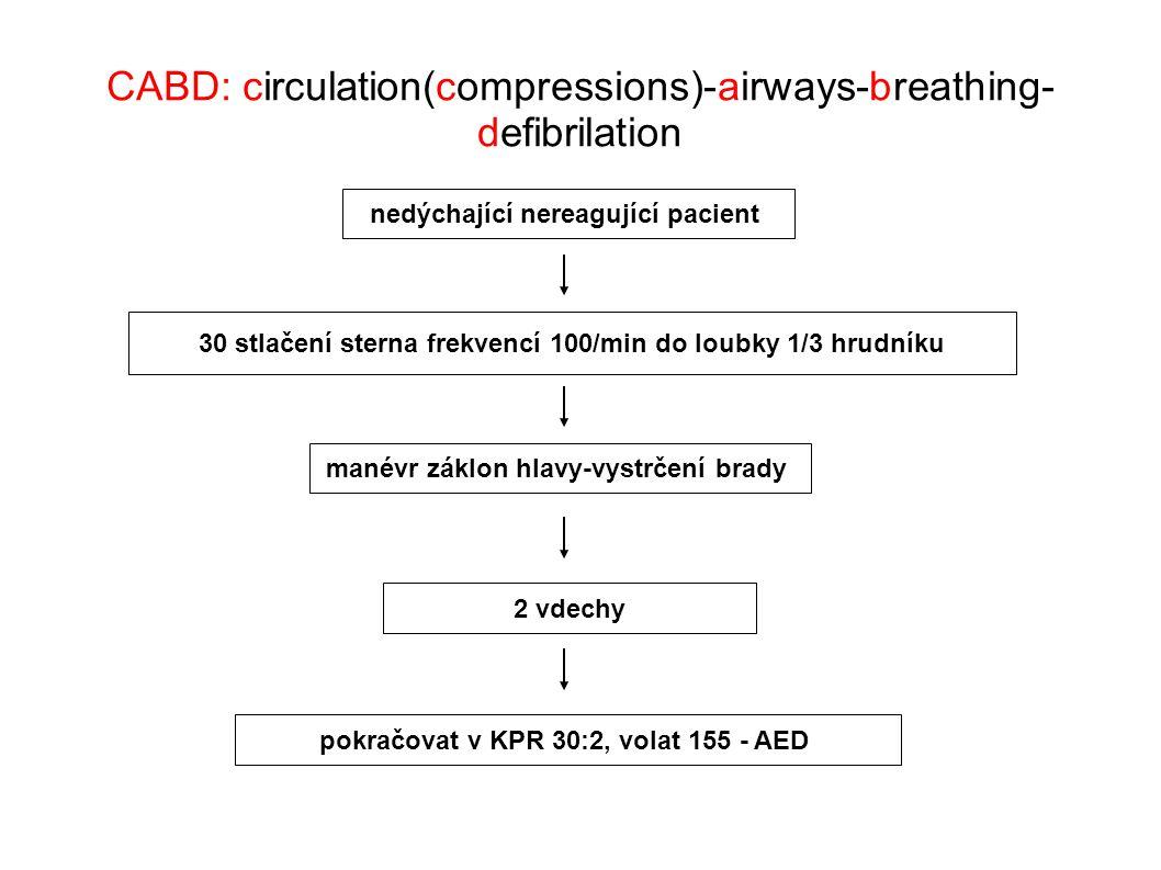 nedýchající nereagující pacient manévr záklon hlavy-vystrčení brady 2 vdechy 30 stlačení sterna frekvencí 100/min do loubky 1/3 hrudníku pokračovat v