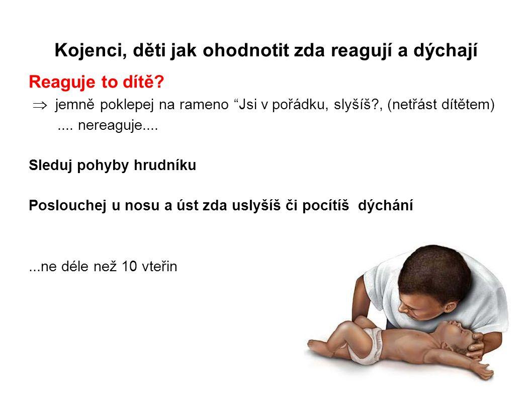 """Kojenci, děti jak ohodnotit zda reagují a dýchají Reaguje to dítě?  jemně poklepej na rameno """"Jsi v pořádku, slyšíš?, (netřást dítětem).... nereaguj"""