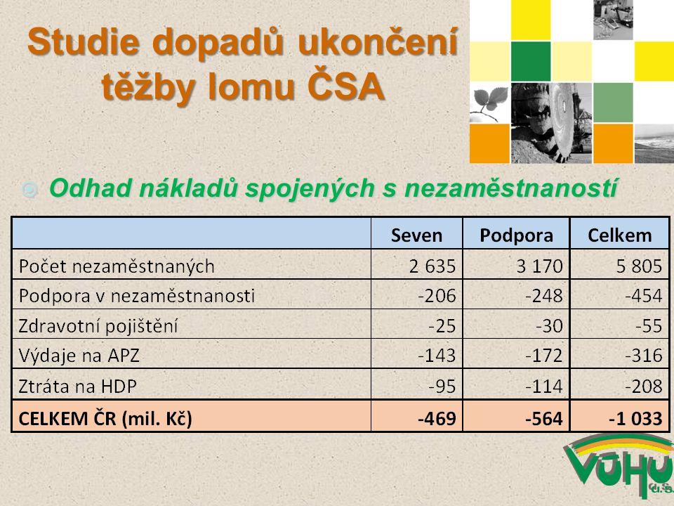  Odhad nákladů spojených s nezaměstnaností Studie dopadů ukončení těžby lomu ČSA