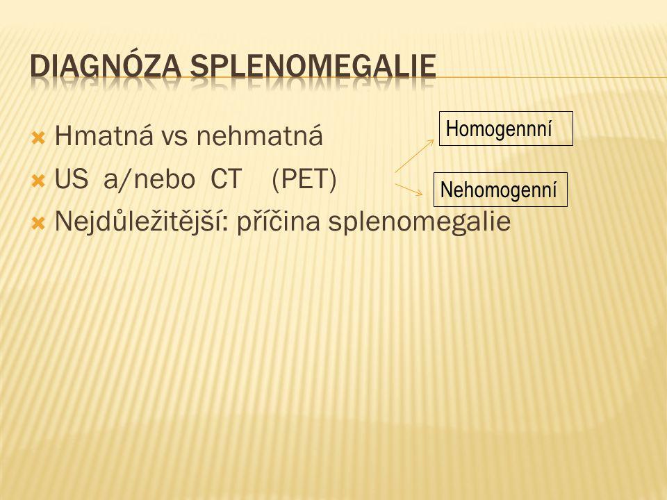 Hmatná vs nehmatná  US a/nebo CT (PET)  Nejdůležitější: příčina splenomegalie Homogennní Nehomogenní
