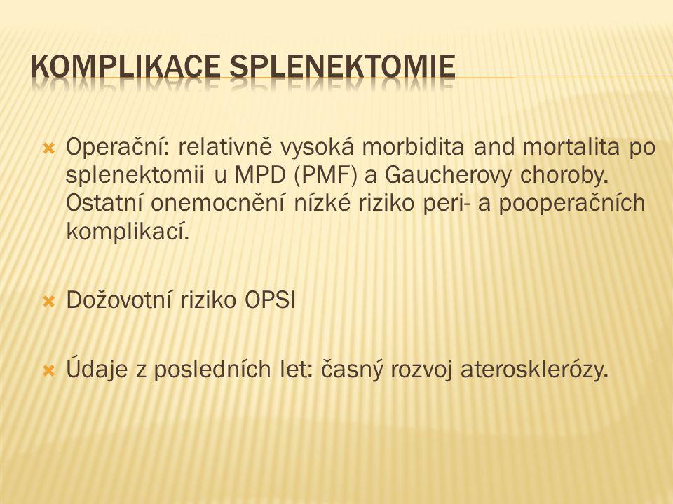  Operační: relativně vysoká morbidita and mortalita po splenektomii u MPD (PMF) a Gaucherovy choroby. Ostatní onemocnění nízké riziko peri- a poopera