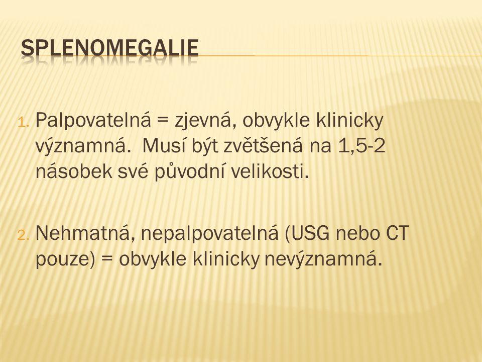 1. Palpovatelná = zjevná, obvykle klinicky významná. Musí být zvětšená na 1,5-2 násobek své původní velikosti. 2. Nehmatná, nepalpovatelná (USG nebo C