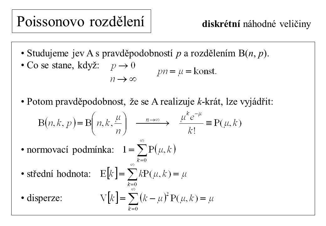 Poissonovo rozdělení diskrétní náhodné veličiny Studujeme jev A s pravděpodobností p a rozdělením B(n, p).