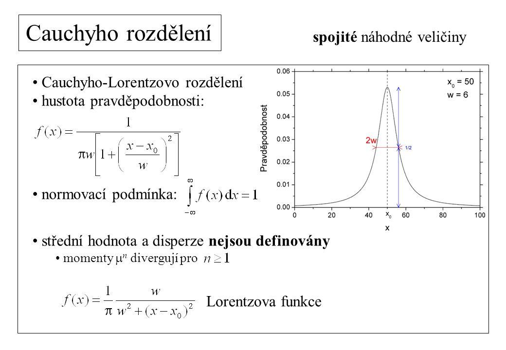 Cauchyho rozdělení Cauchyho-Lorentzovo rozdělení hustota pravděpodobnosti: normovací podmínka: střední hodnota a disperze nejsou definovány momenty  n divergují pro spojité náhodné veličiny Lorentzova funkce
