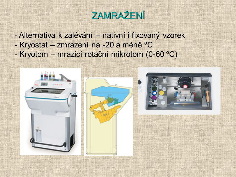 - Alternativa k zalévání – nativní i fixovaný vzorek - Kryostat – zmrazení na -20 a méně ºC - Kryotom – mrazicí rotační mikrotom (0-60 ºC) ZAMRAŽENÍ