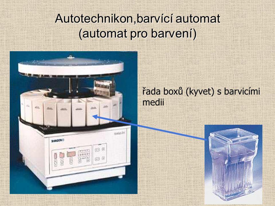 Autotechnikon,barvící automat (automat pro barvení) řada boxů (kyvet) s barvicími medii