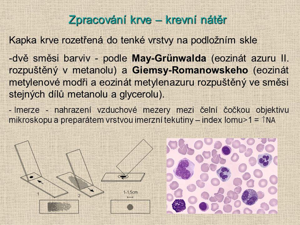 Kapka krve rozetřená do tenké vrstvy na podložním skle -dvě směsi barviv - podle May-Grünwalda (eozinát azuru II.