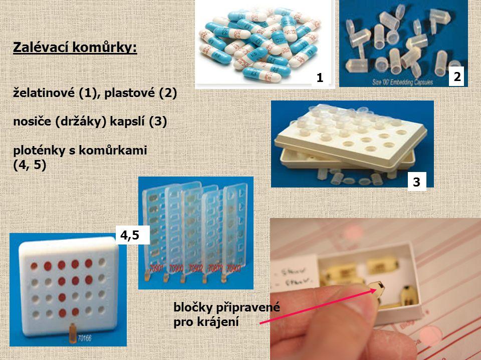 Zalévací komůrky: želatinové (1), plastové (2) nosiče (držáky) kapslí (3) ploténky s komůrkami (4, 5) bločky připravené pro krájení 1 2 3 4,5