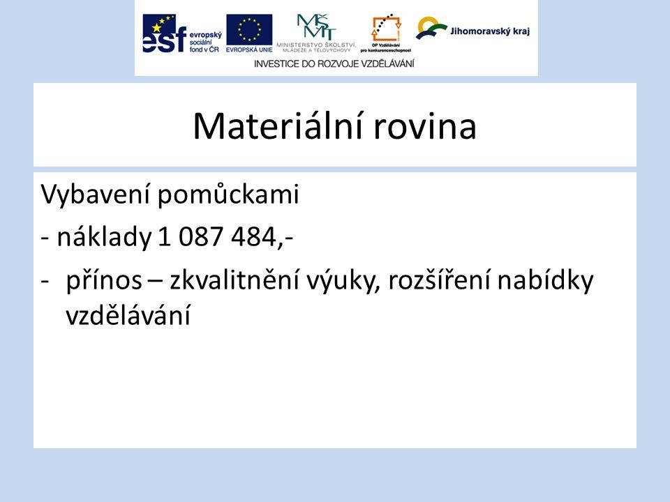 Materiální rovina Vybavení pomůckami - náklady 1 087 484,- -přínos – zkvalitnění výuky, rozšíření nabídky vzdělávání