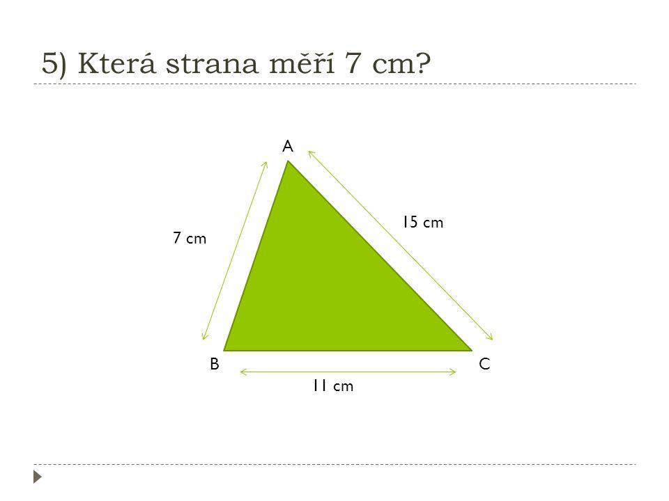 4) Jaká strana je nejdelší? K L M