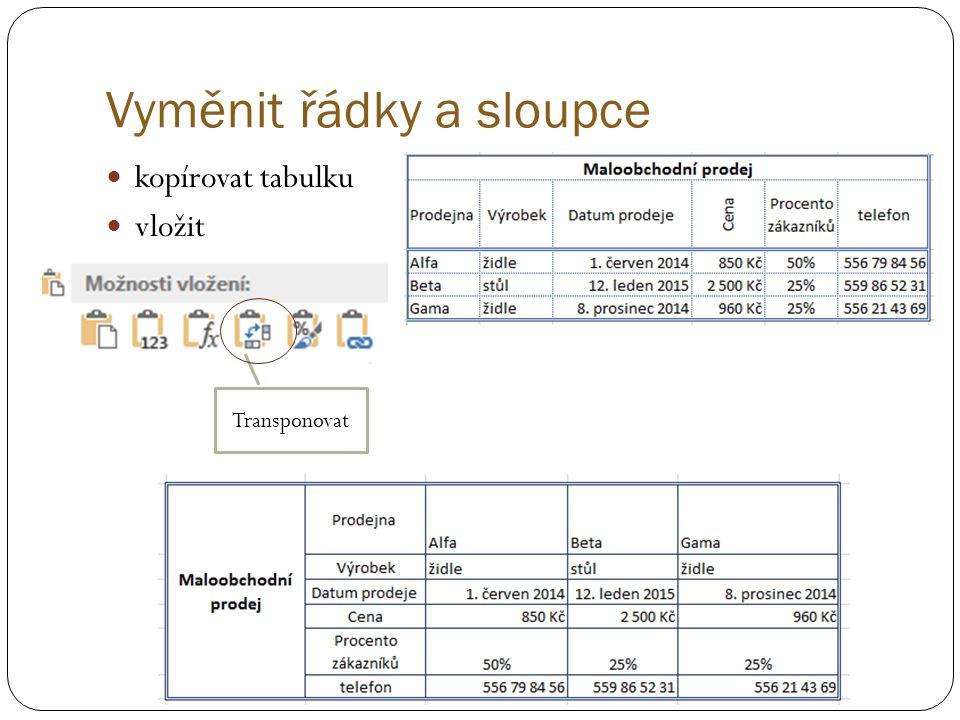 Vyměnit řádky a sloupce kopírovat tabulku vložit Transponovat
