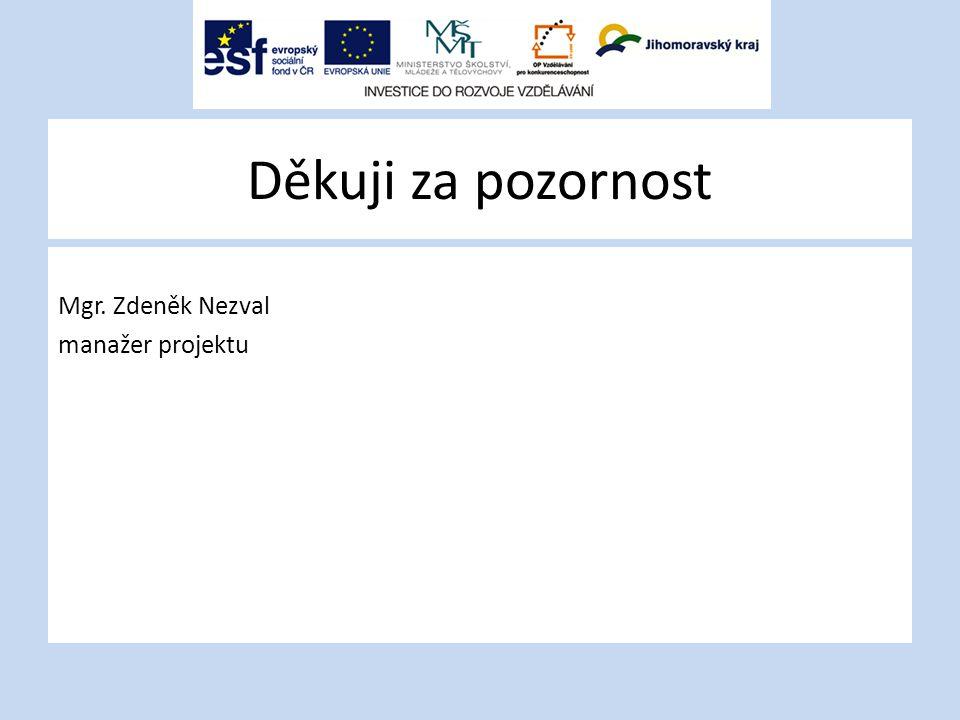 Děkuji za pozornost Mgr. Zdeněk Nezval manažer projektu