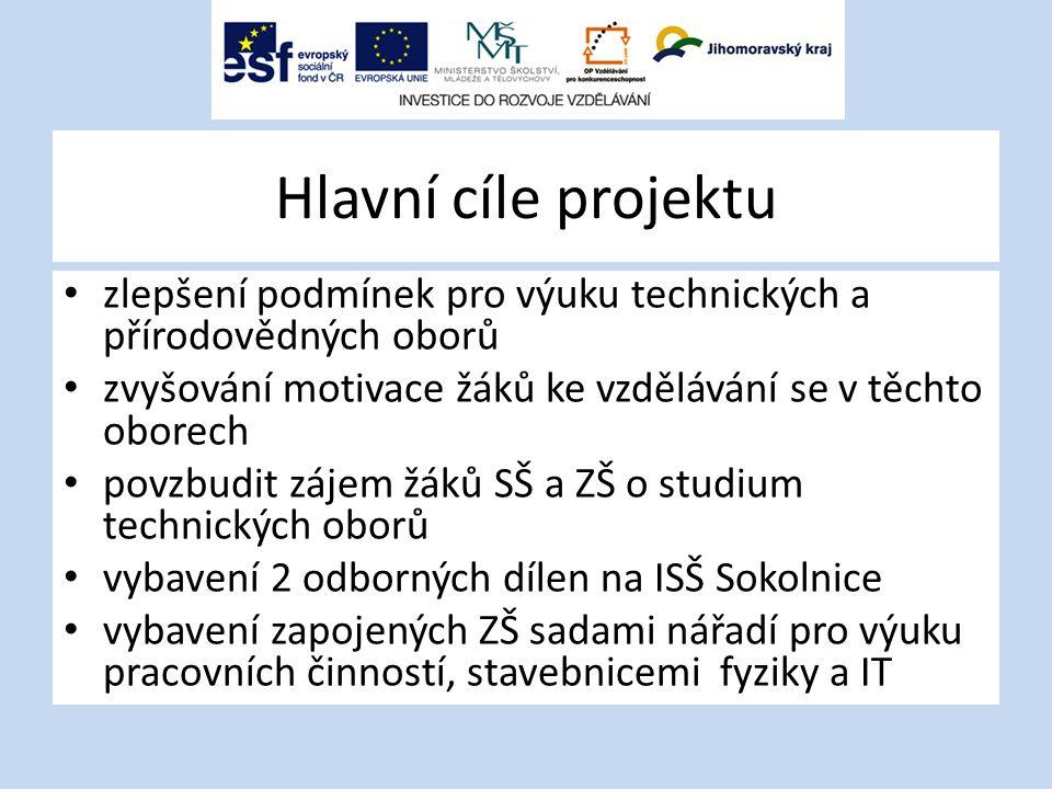 Hlavní cíle projektu zlepšení podmínek pro výuku technických a přírodovědných oborů zvyšování motivace žáků ke vzdělávání se v těchto oborech povzbudi