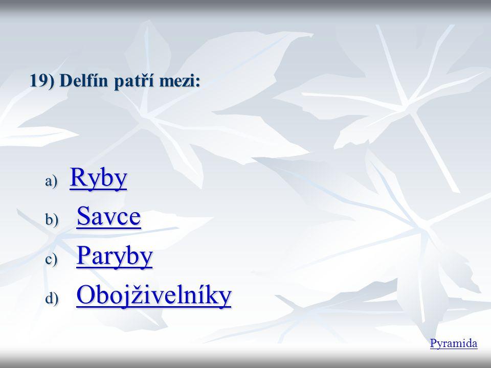 19) Delfín patří mezi: a) Ryby Ryby b) Savce Savce c) Paryby Paryby d) Obojživelníky Obojživelníky Pyramida