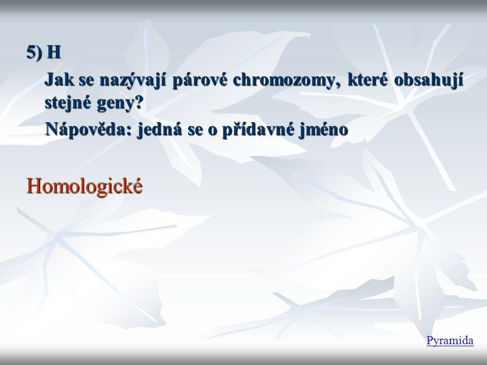 5) H Jak se nazývají párové chromozomy, které obsahují stejné geny? Nápověda: jedná se o přídavné jméno Nápověda: jedná se o přídavné jménoHomologické