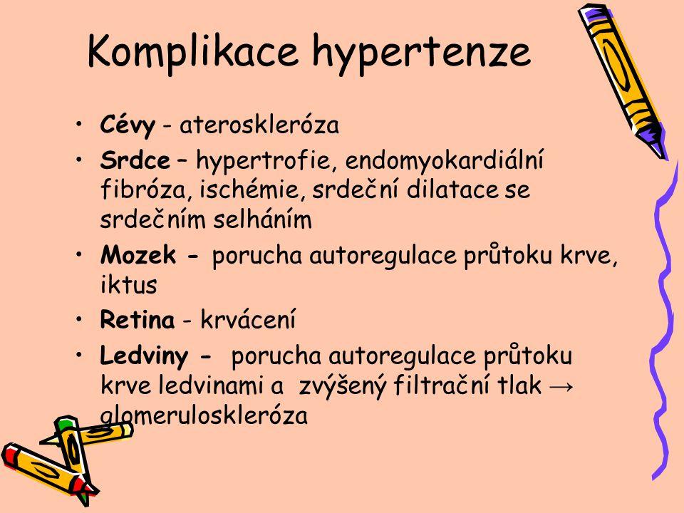 Komplikace hypertenze Cévy - ateroskleróza Srdce – hypertrofie, endomyokardiální fibróza, ischémie, srdeční dilatace se srdečním selháním Mozek - poru