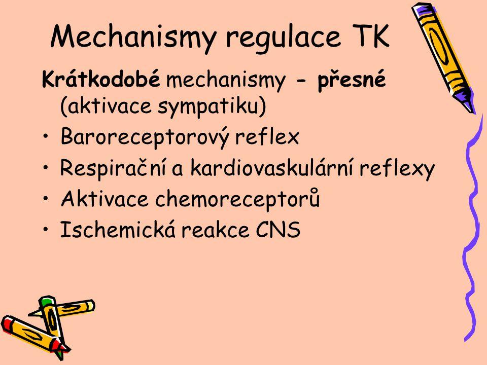 Mechanismy regulace TK Krátkodobé mechanismy - přesné (aktivace sympatiku) Baroreceptorový reflex Respirační a kardiovaskulární reflexy Aktivace chemo