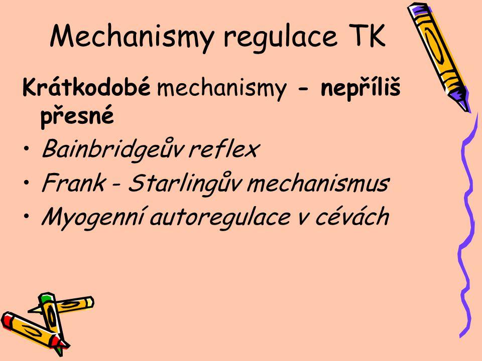 Mechanismy regulace TK Střednědobé Renin - angiotenzin = vazokonstrikce ADH = vazokonstrikce Pasivní přesun tekutin mezi kapilárami a intersticiem Dlouhodobé RAAS = retence sodíku a vody ADH = retence vody tlaková natriuréza