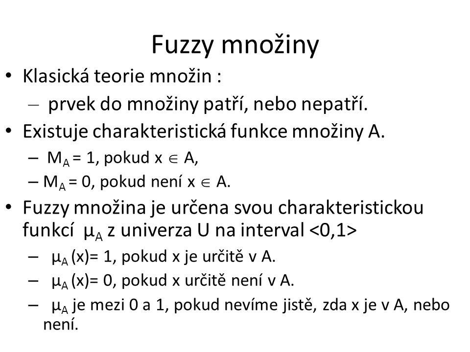 Fuzzy množiny Klasická teorie množin : – prvek do množiny patří, nebo nepatří. Existuje charakteristická funkce množiny A. – M A = 1, pokud x  A, – M