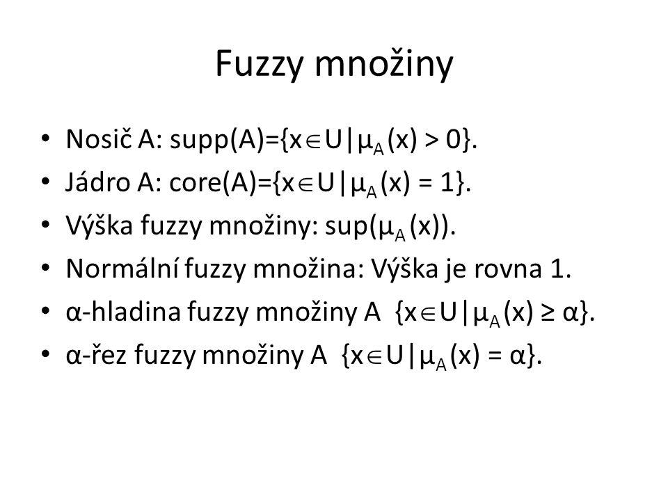 Fuzzy množiny Nosič A: supp(A)={x  U|μ A (x) > 0}. Jádro A: core(A)={x  U|μ A (x) = 1}. Výška fuzzy množiny: sup(μ A (x)). Normální fuzzy množina: V