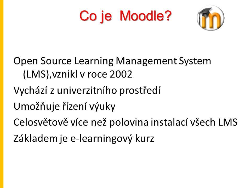 Co je Moodle? Open Source Learning Management System (LMS),vznikl v roce 2002 Vychází z univerzitního prostředí Umožňuje řízení výuky Celosvětově více
