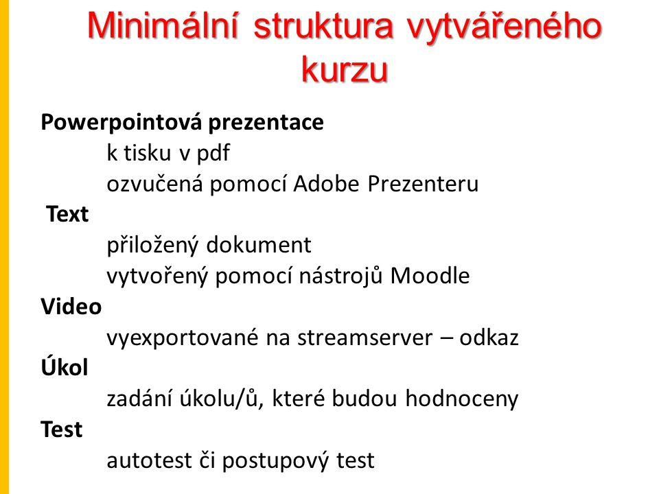 Minimální struktura vytvářeného kurzu Powerpointová prezentace k tisku v pdf ozvučená pomocí Adobe Prezenteru Text přiložený dokument vytvořený pomocí