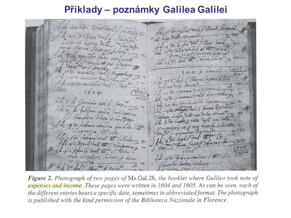 Příklady – poznámky Galilea Galilei