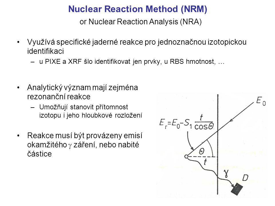 Nuclear Reaction Method (NRM) Využívá specifické jaderné reakce pro jednoznačnou izotopickou identifikaci –u PIXE a XRF šlo identifikovat jen prvky, u