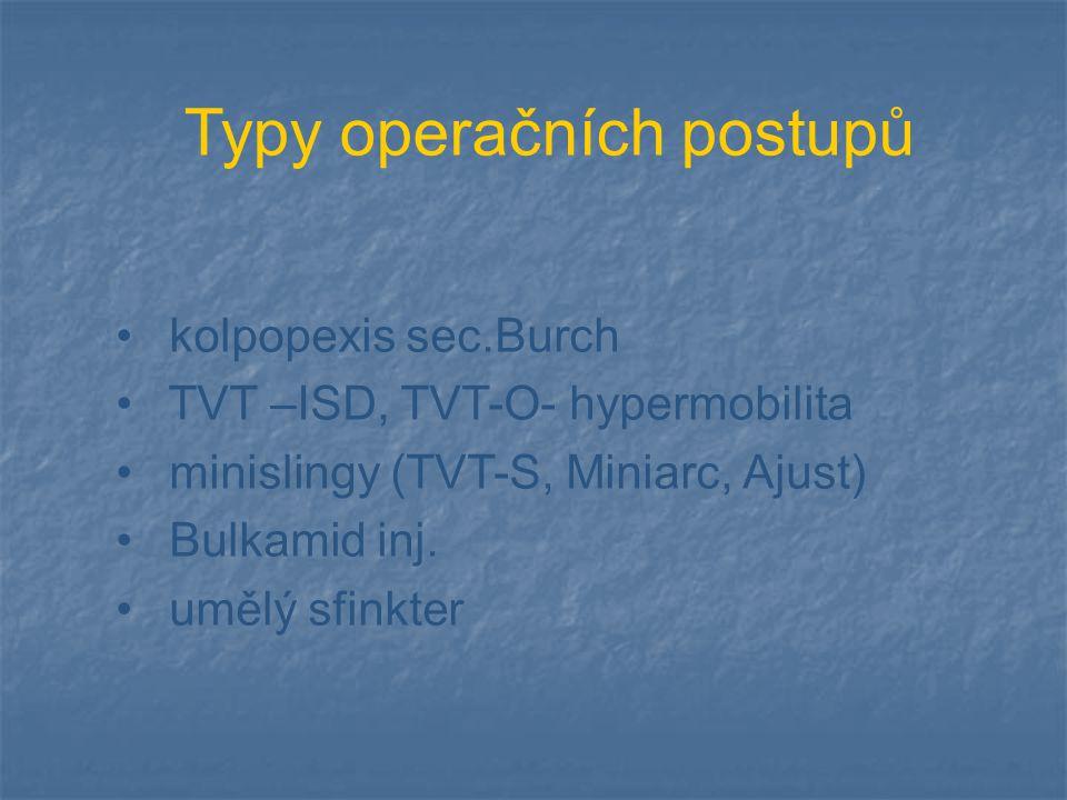 Typy operačních postupů kolpopexis sec.Burch TVT –ISD, TVT-O- hypermobilita minislingy (TVT-S, Miniarc, Ajust) Bulkamid inj. umělý sfinkter