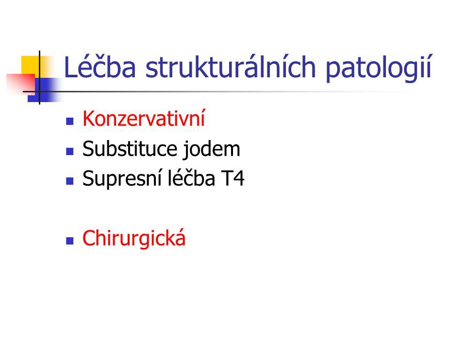 Léčba strukturálních patologií Konzervativní Substituce jodem Supresní léčba T4 Chirurgická
