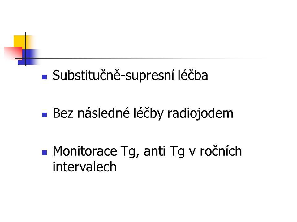 Substitučně-supresní léčba Bez následné léčby radiojodem Monitorace Tg, anti Tg v ročních intervalech